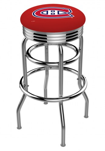 Montreal Canadiens Double Ring Swivel Barstool with Ribbed Accent Ring