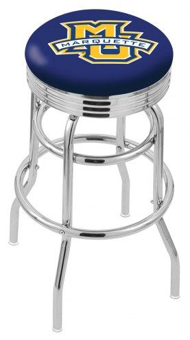 Marquette Golden Eagles Double Ring Swivel Barstool with Ribbed Accent Ring