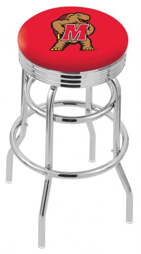 Maryland Terrapins Double Ring Swivel Barstool with Ribbed Accent Ring