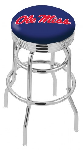 Mississippi Rebels Double Ring Swivel Barstool with Ribbed Accent Ring