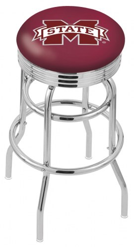 Mississippi State Bulldogs Double Ring Swivel Barstool with Ribbed Accent Ring