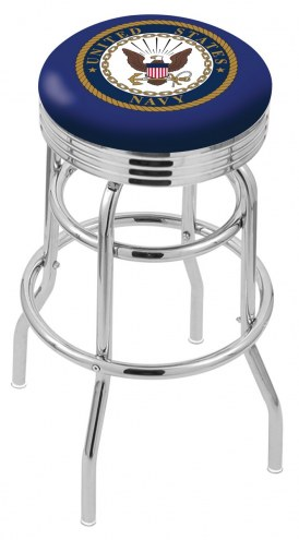 U.S. Navy Midshipmen Double Ring Swivel Barstool with Ribbed Accent Ring