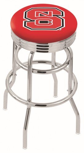 North Carolina State Wolfpack Double Ring Swivel Barstool with Ribbed Accent Ring