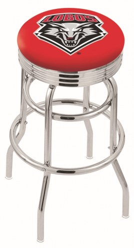 New Mexico Lobos Double Ring Swivel Barstool with Ribbed Accent Ring