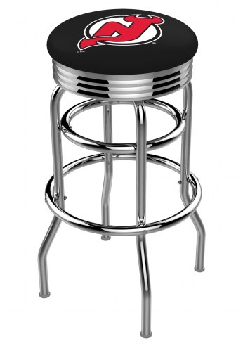 New Jersey Devils Double Ring Swivel Barstool with Ribbed Accent Ring