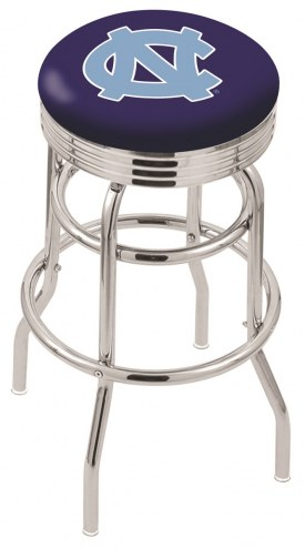 North Carolina Tar Heels Double Ring Swivel Barstool with Ribbed Accent Ring