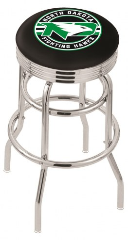 University of North Dakota Double Ring Swivel Barstool with Ribbed Accent Ring