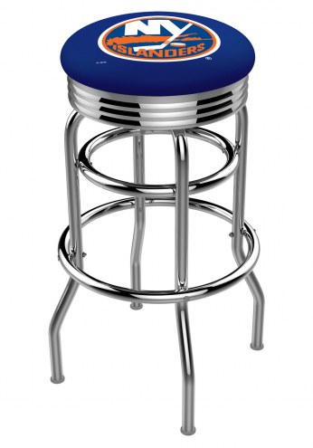 New York Islanders Double Ring Swivel Barstool with Ribbed Accent Ring