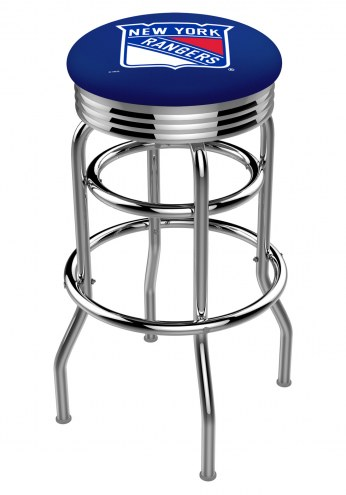 New York Rangers Double Ring Swivel Barstool with Ribbed Accent Ring