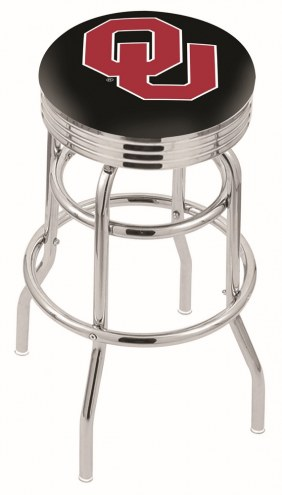 Oklahoma Sooners Double Ring Swivel Barstool with Ribbed Accent Ring