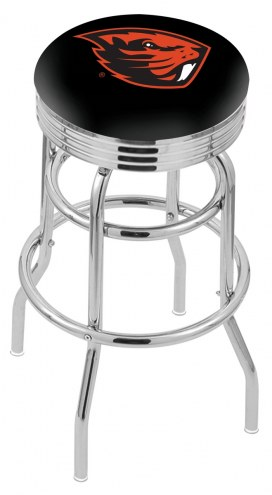 Oregon State Beavers Double Ring Swivel Barstool with Ribbed Accent Ring