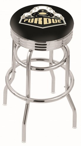 Purdue Boilermakers Double Ring Swivel Barstool with Ribbed Accent Ring