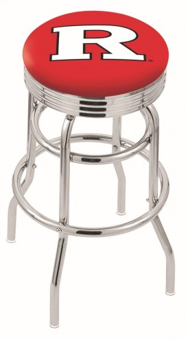 Rutgers Scarlet Knights Double Ring Swivel Barstool with Ribbed Accent Ring