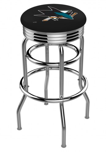 San Jose Sharks Double Ring Swivel Barstool with Ribbed Accent Ring