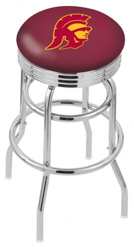 USC Trojans Double Ring Swivel Barstool with Ribbed Accent Ring