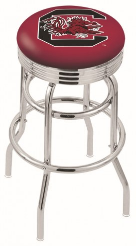 South Carolina Gamecocks Double Ring Swivel Barstool with Ribbed Accent Ring
