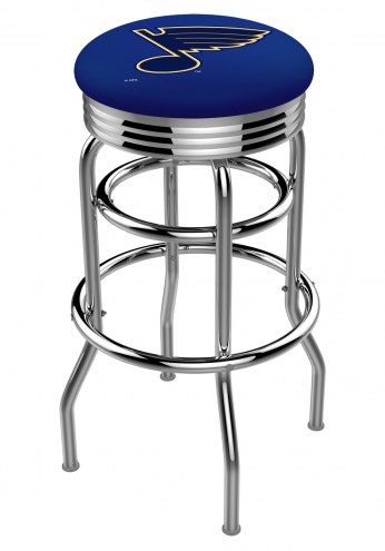 St. Louis Blues Double Ring Swivel Barstool with Ribbed Accent Ring