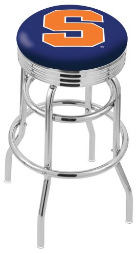 Syracuse Orange Double Ring Swivel Barstool with Ribbed Accent Ring