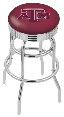 Texas A&M Aggies Double Ring Swivel Barstool with Ribbed Accent Ring