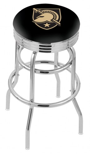 Army Black Knights Double Ring Swivel Barstool with Ribbed Accent Ring