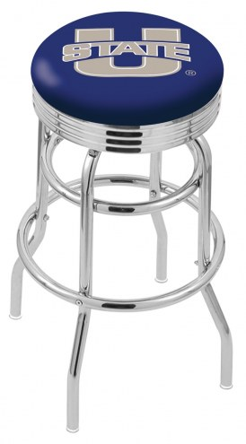 Utah State Aggies Double Ring Swivel Barstool with Ribbed Accent Ring