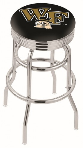 Wake Forest Demon Deacons Double Ring Swivel Barstool with Ribbed Accent Ring