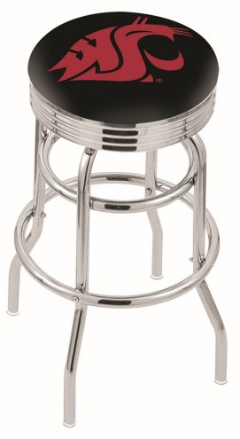 Washington State Cougars Double Ring Swivel Barstool with Ribbed Accent Ring