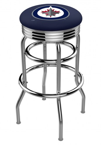 Winnipeg Jets Double Ring Swivel Barstool with Ribbed Accent Ring