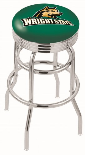 Wright State Raiders Double Ring Swivel Barstool with Ribbed Accent Ring