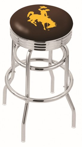 Wyoming Cowboys Double Ring Swivel Barstool with Ribbed Accent Ring