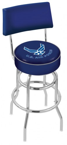 Air Force Falcons Chrome Double Ring Swivel Barstool with Back