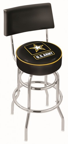 U.S. Army Black Knights Chrome Double Ring Swivel Barstool with Back