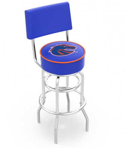 Boise State Broncos Chrome Double Ring Swivel Barstool with Back