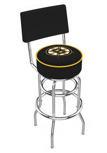 Boston Bruins Chrome Double Ring Swivel Barstool with Back
