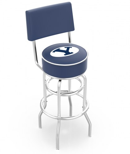 BYU Cougars Chrome Double Ring Swivel Barstool with Back