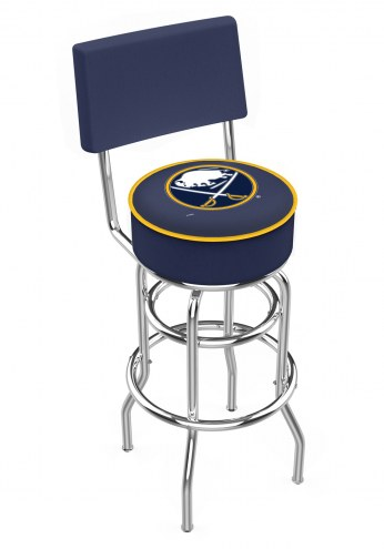 Buffalo Sabres Chrome Double Ring Swivel Barstool with Back