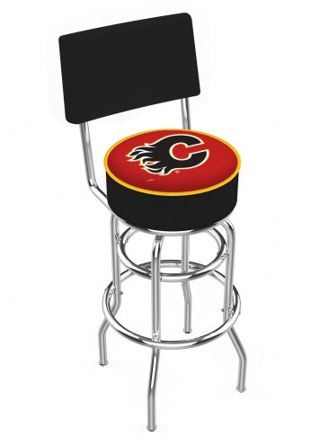 Calgary Flames Chrome Double Ring Swivel Barstool with Back
