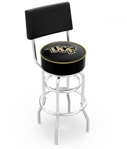 Central Florida Knights Chrome Double Ring Swivel Barstool with Back
