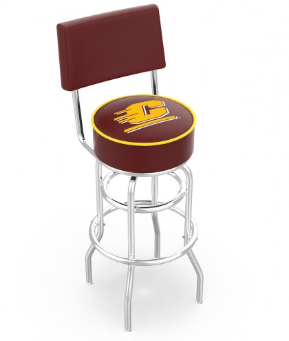 Central Michigan Chippewas Chrome Double Ring Swivel Barstool with Back