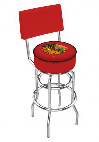 Chicago Blackhawks NHL Chrome Double Ring Swivel Barstool with Back