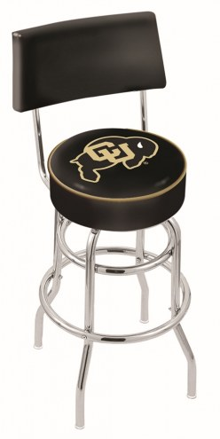 Colorado Buffaloes Chrome Double Ring Swivel Barstool with Back