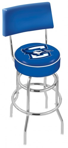 Creighton Bluejays Chrome Double Ring Swivel Barstool with Back