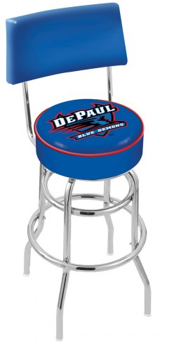DePaul Blue Demons Chrome Double Ring Swivel Barstool with Back
