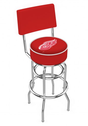 Detroit Red Wings Chrome Double Ring Swivel Barstool with Back