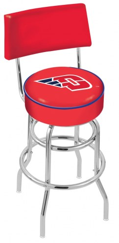 Dayton Flyers Chrome Double Ring Swivel Barstool with Back