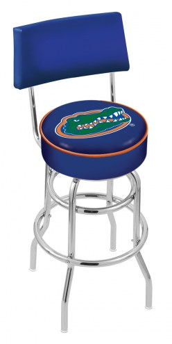 Florida Gators Chrome Double Ring Swivel Barstool with Back