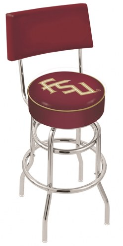FSU Seminoles Chrome Double Ring Swivel Barstool with Back