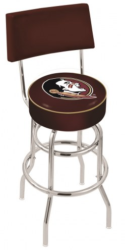 Florida State Seminoles Chrome Double Ring Swivel Barstool with Back