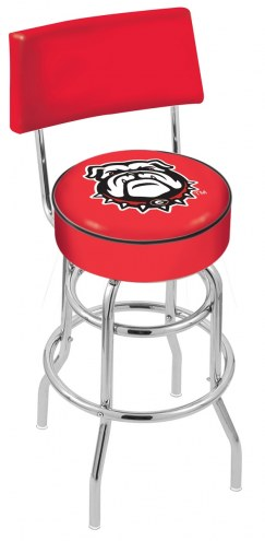 Georgia Bulldogs Chrome Double Ring Swivel Barstool with Back