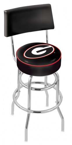 Georgia Bulldogs NCAA Chrome Double Ring Swivel Barstool with Back
